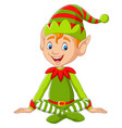 cartoon happy christmas elf sitting vector image vector image