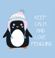 cartoon penguin isolated cute card with animal vector image vector image