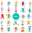 cartoon robot characters large set vector image vector image