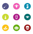 celebration of halloween icons set flat style vector image vector image