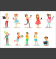 children and gadgets set of with vector image vector image