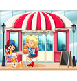 Children hanging out at the cafe vector image vector image