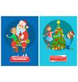 christmas buttons santa claus and xmas tree vector image vector image