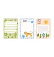 collection cute childish appointment notebook vector image