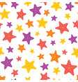 colorful starfish on white seamless pattern vector image vector image