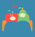 Cozy Fruit Couple on Sofa vector image