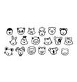 cute farm zoo domestic animals faces outline vector image vector image