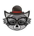 cute scribble raccoon face cartoon vector image vector image