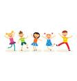 Dancing kids set in flat style - happy joyful