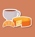 delicious cheese with coffee and croissant vector image