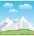 flat snowy mountains with valley in a spring vector image