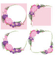 four frame designs with pink and purple flowers vector image