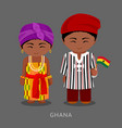 ghanaian in national clothes with a flag vector image