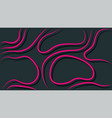 glowing pink 3d thin curved lines with shadows vector image vector image