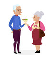 grandpa gives flowers to grandma happy vector image vector image