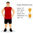 guy with juice orange nutritional value healthy vector image