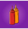 hand drawn pop art of ketchup and mustard vector image vector image