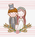 happy woman and man with plants leaves vector image vector image