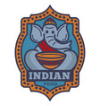 indian food commercial logotype with elephant in vector image vector image