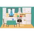 kitchen interior in traditional design flat vector image vector image
