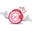 listening music aeternity coin mascot cartoon vector image vector image
