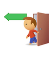 men exit from the door vector image vector image