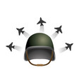 military helmet and airplane vector image