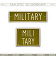 military signboard in car license plate style vector image vector image