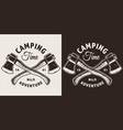 monochrome camping season print vector image