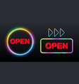 open neon signs vector image