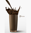 pouring cocoa drink vector image vector image