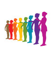 rainbow row of ballet dancers vector image