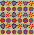 Red Orange Blue Flowers Pattern vector image vector image