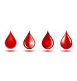 red shiny drops blood isolated on white vector image vector image