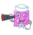 sailor with binocular toy brick mascot cartoon vector image vector image