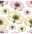 seamless pattern of pink and yellow flowering of vector image vector image