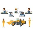 set of industrial workers vector image vector image
