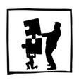 silhouette boss and businessman taking puzzles vector image vector image