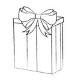 sketch draw christmas gift cartoon vector image vector image