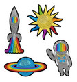 space embroidery patch set vector image