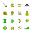 st patrick day set icons set cartoon vector image vector image
