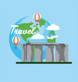 stonehenge travel with fun air balloons vector image