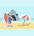 surfer on the beach vector image vector image