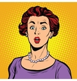 Surprised woman with a pearl necklace vector image