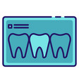 teeth x-ray linecolor vector image
