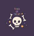 trick or treat funny skull halloween card vector image vector image