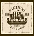 vikings sailship brown emblem label badge vector image vector image