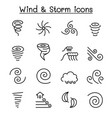 wind storm icon set in thin line style vector image