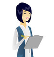 young asian business woman writing on clipboard vector image vector image