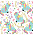 seamless pattern with unicorn and bird vector image